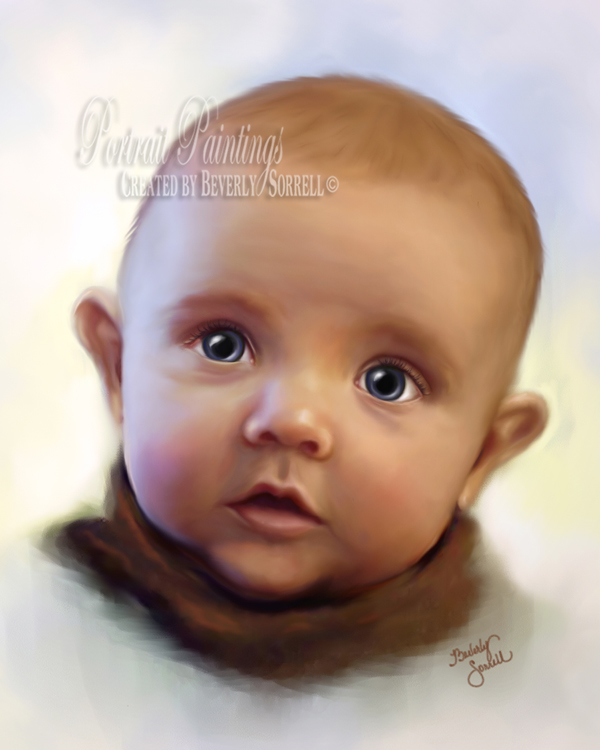 Baby Blue Eyes Portrait Painting
